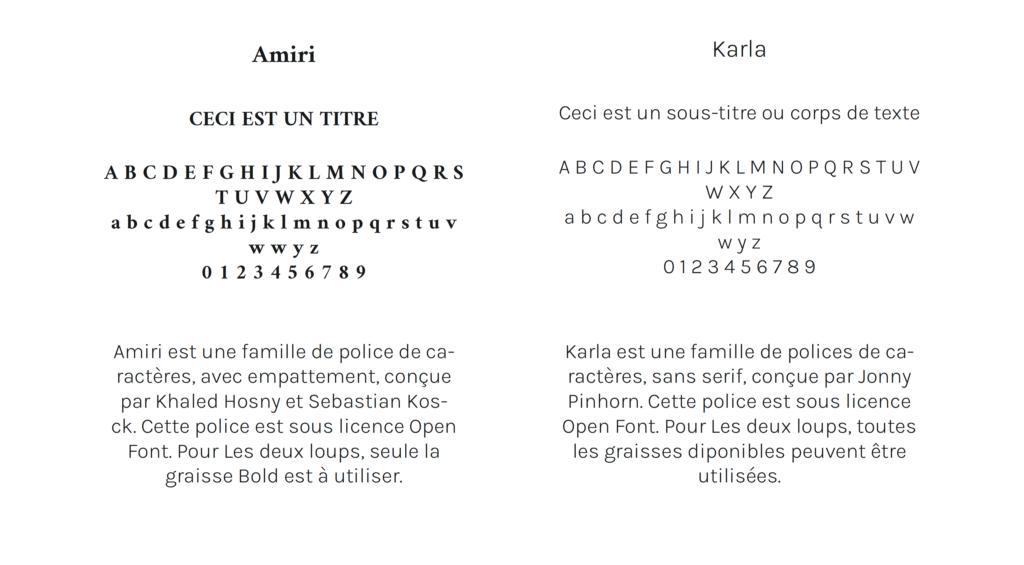 Le système typographique pour l'identité visuelle du Duo de Photographes LES DEUX LOUPS