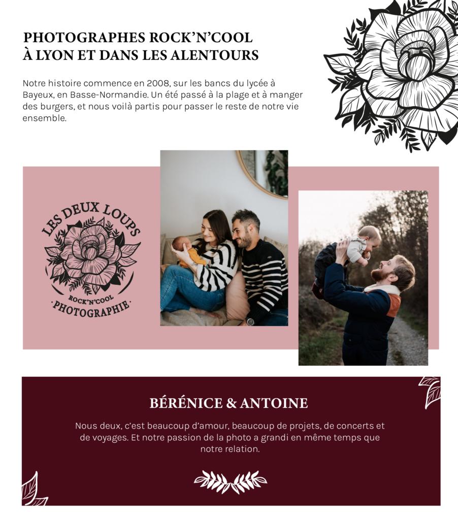 Une planche d'ambiance autour du logo du Duo de Photographes LES DEUX LOUPS