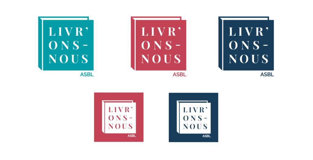 Déclinaisons dans différentes couleurs du logo pour l'ASBL d'édition LIVRONS NOUS, représentants un livre