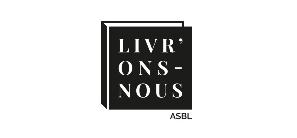 Logo pour l'ASBL d'édition LIVRONS NOUS, représentant un livre
